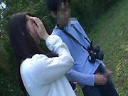Japanese AV model gets banged outdoors by horny photographer