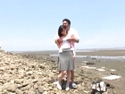 Stunning Asian babe Ki Hanyuu sucks and fucks on the beach
