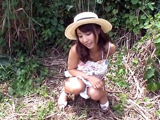 Asian babe Shunka Ayami gives a hot tit fuck and blowjob outdoors