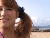 Bikini babe Mao Kurata gets hardcore creampie at outdoor slamming picture 3