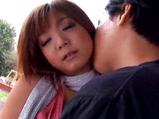 Hot Japanese AV Model with big tits and bubble ass gets screwed outdoors