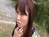 Insolent chick is a horny Japanese AV model giving head outdoors picture 12