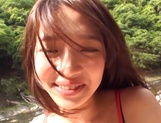 Naughty Asian teen gets hardcore fuck when outdoors