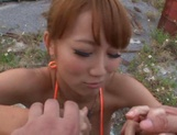 Very sexy MILF Mao Kurata sucks and rides a guy outdoors