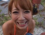 Very sexy MILF Mao Kurata sucks and rides a guy outdoors picture 12