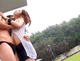 Busty redhead milf enjoys outdoor sex and gets fucked from behind picture 10