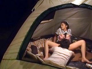 Hot Asian milf Yuri Shirai sucks dick and gets fingered in a tent