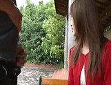 Sexy Japanese AV model enjoys outdoor sex date picture 12