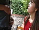 Sexy Japanese AV model enjoys outdoor sex date picture 14