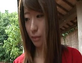 Sexy Japanese AV model enjoys outdoor sex date picture 15