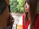 Sexy Japanese AV model enjoys outdoor sex date