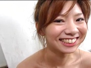 Peachy tits amateur babe Aki Katase plays with cock in POV