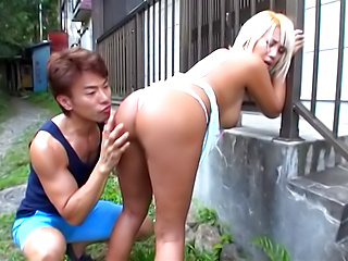Juicy tits blonde wife gets rammed hard outdoors