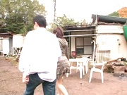 Hot amateur milf China Yuki gets fingered and smacked outdoors