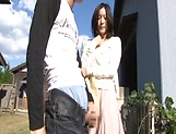 Lustful Japanses gets a doggy slaming outdoors picture 11