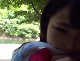 Gorgeous Asian babe sucks dick and eats sperm outdoors picture 13
