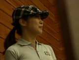 Asian amateur gets pussy licked before her golf lesson