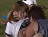 Hot sporty Japanese teen gals have steaming sex on the playground picture 13
