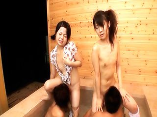 Chiwa Osaki and friend in an outdoor gangbang