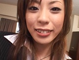 Cum on tits for amateur Japanese AV model in pov office sex picture 7