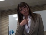 Gorgeous office lady Ayu Sakurai shows off pussy rubbing and rides cock picture 15