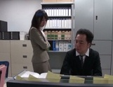 Gorgeous office lady Ayu Sakurai shows off pussy rubbing and rides cock picture 1
