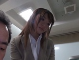 Gorgeous office lady Ayu Sakurai shows off pussy rubbing and rides cock
