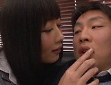 Superb Asian darlings fuck a hunky bloke picture 11