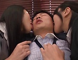Superb Asian darlings fuck a hunky bloke picture 13