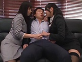 Superb Asian darlings fuck a hunky bloke picture 15