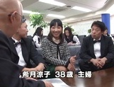 Kinky office lady gets banged by a group of guys in a conference room picture 15