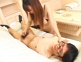 Big titted Asian babe Ai Sayama sucks a nerdy guy with glasses