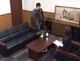 Horny office lady in fancy stockings Akari Asahina pleases her client