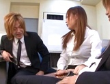 Office milf with big tits enjoys threesome sex picture 11