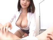 Big tits babe rides passionately on a hard huge pole