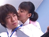 Cute babe Aino Kishi sucks her colleague at the office
