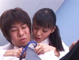 Cute babe Aino Kishi sucks her colleague at the office picture 11