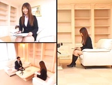 Sexy Asian interviewer, Ai Sayama jerks off her guest picture 12