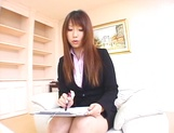 Sexy Asian interviewer, Ai Sayama jerks off her guest picture 13