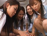 Lucky stud gets fucked by Japanese AV models at work picture 12