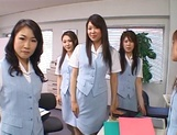 Lucky stud gets fucked by Japanese AV models at work picture 3