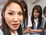 Lucky stud gets fucked by Japanese AV models at work picture 7