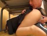 Pretty office lady in a sexy costume fucked by her ugly boss picture 15
