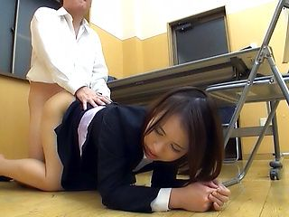 Pretty office lady in a sexy costume fucked by her ugly boss
