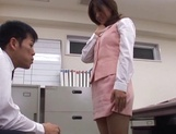 Sexy office lady Rino Kamiya gives a blowjob and gets rear fuck picture 10
