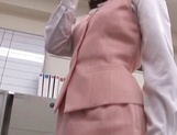 Sexy office lady Rino Kamiya gives a blowjob and gets rear fuck picture 11