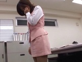 Sexy office lady Rino Kamiya gives a blowjob and gets rear fuck picture 12