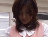 Sexy office lady Rino Kamiya gives a blowjob and gets rear fuck picture 14