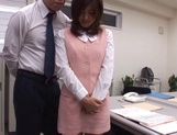 Sexy office lady Rino Kamiya gives a blowjob and gets rear fuck picture 15