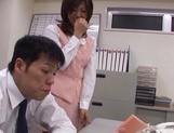 Sexy office lady Rino Kamiya gives a blowjob and gets rear fuck picture 4